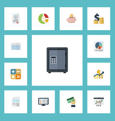 flat icons sheet safe pie bar and other vector image
