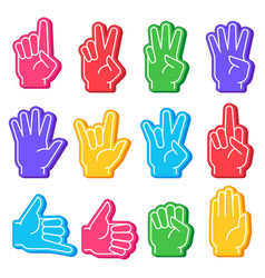 Foam fingers sports fan hand with different vector