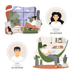 freelance worker set flat style design vector image