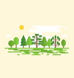 geometric forest landscape in flat design vector image