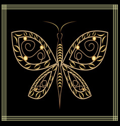 Gold lace butterfly on black background filigree vector