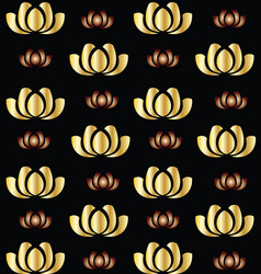 Gold lotus flower seamless background icon vector