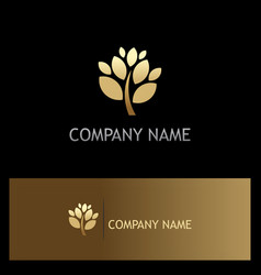 Gold plant tree company logo vector
