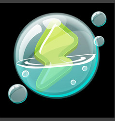 Green energy icon in a soap bubble vector