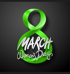 Green march 8 greeting card international womans vector