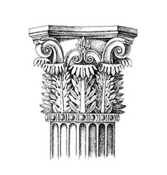 Hand drawn capital corinthian order vector
