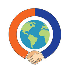 Handshake around globe international partnership vector