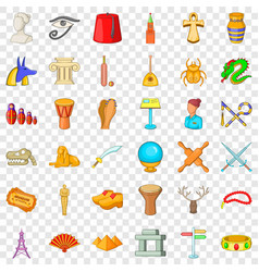 History museum icons set cartoon style vector