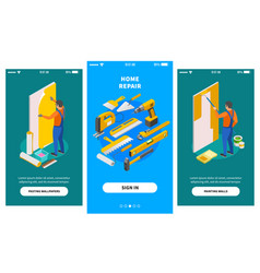 Home repair isometric banners vector