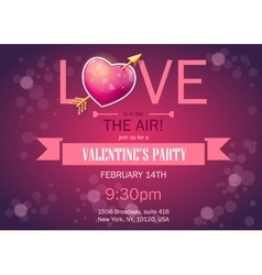 Invitation card on Valentines Day horizontal vector