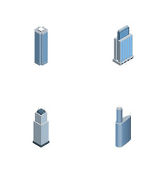 Isometric construction set of urban tower vector