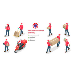 Isometric icons delivery man and woman or vector