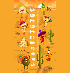 Kids height chart with cartoon mexican fast food vector