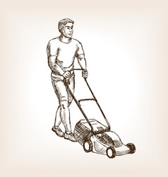 Lawnmower sketch vector image