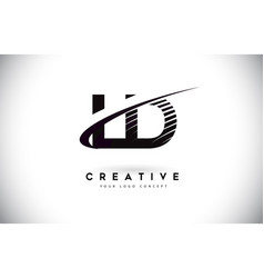 Ld l d letter logo design with swoosh and black vector