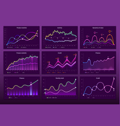 line graph charts business financial graphs vector image
