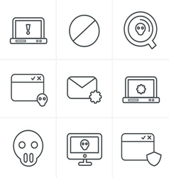Line Icons Style Digital criminal icons set vector image