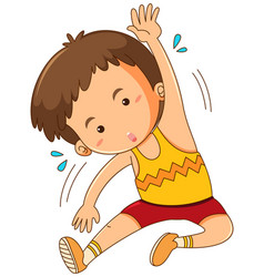 Little boy stretching on white background vector