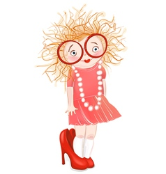 Little Girl in Moms Shoes vector