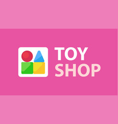 Logo for kids toy stop with caption on vector