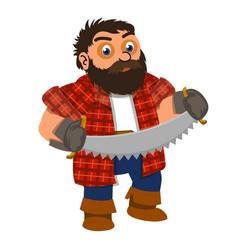 lumberjack two hand saw icon cartoon style vector image