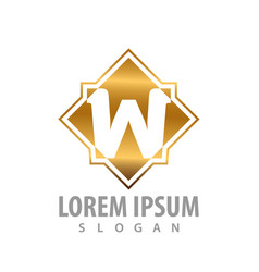 luxury square initial letter w logo concept vector image