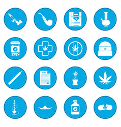 Marijuana icon blue vector