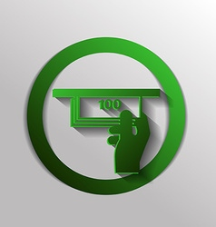 Money ATM symbol issuing or receiving money from vector