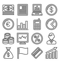 money icon set on white background line style vector image