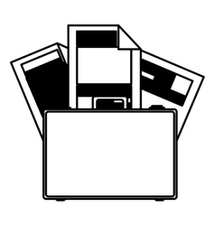 monochorme silhouette briefcase and documents vector image