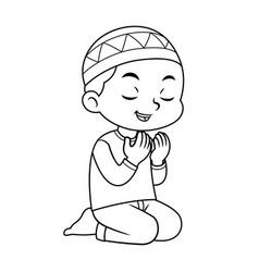 Moslem boy praying bw vector