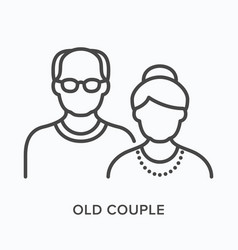 old couple flat line icon outline vector image