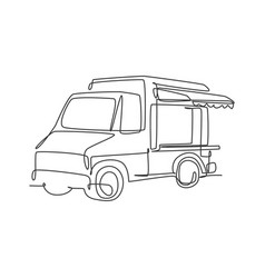 one continuous line drawing cheerful food truck vector image