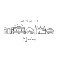 one continuous line drawing wroclaw city vector image