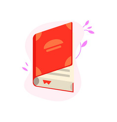 open book with red hardcover and paper pages with vector image