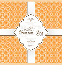 orange vintage linear arabic pattern card vector image
