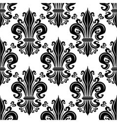 Ornate black fleur-de-lis seamless pattern vector