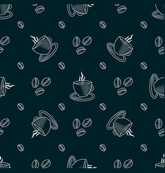 Outline cup coffee and beans seamless pattern vector