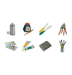 Painter and drawing icons in set collection for vector