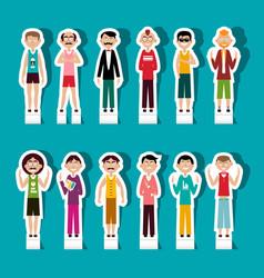 Paper cut men set people avatar vector