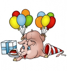 Pig with balloons vector