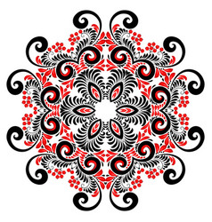 red and black colors curly ornate mandala vector image