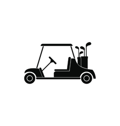 Red golf car black simple icon vector image