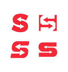 red letter s with arrows in negative space vector image