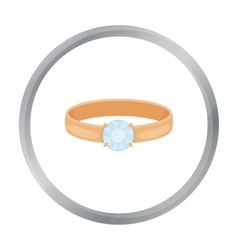 Ring with diamond icon in cartoon style isolated vector image
