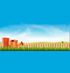 rubber boots with watering can in a green grass vector image