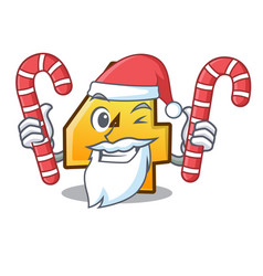 santa with candy number four isolated on the vector image