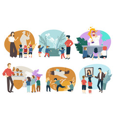 School children on excursion in museums vector