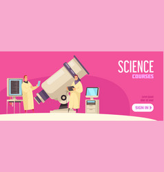 Science courses horizontal banner vector