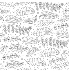 Seamless pattern black and white doodle leaves vector
